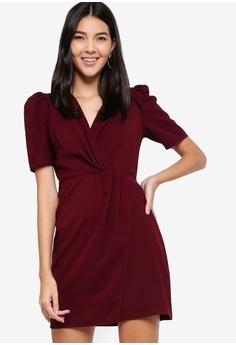 ac2397a6a4 ZALORA red Twisted Waist Dress 46033AA12B8878GS 1