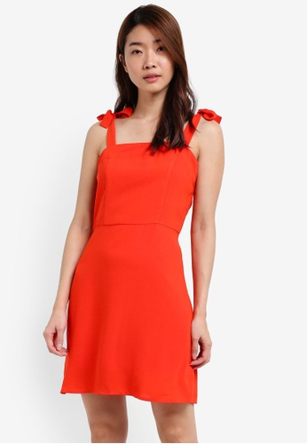 ZALORA orange Tie Shoulder Fit & Flare Dress EEA78AA57AC7CEGS_1