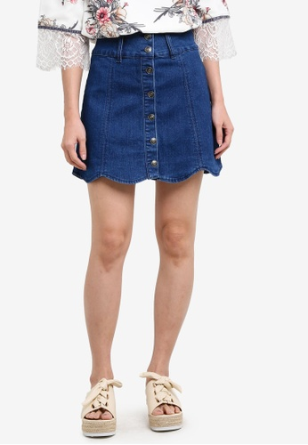 Something Borrowed blue Scallop Hem Denim Mini Skirt 35507ZZ8BA8074GS_1