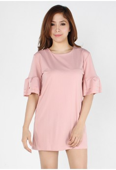 Simple Frilled Sleeves Straight Cut Dress