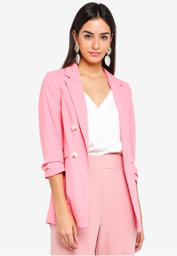 Miss Selfridge pink Hotpink Faux Double Breasted Blazer 1FC00AAAD86F37GS_1