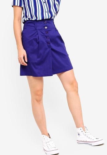 Something Borrowed navy Paperbag Mini Skirt C6DD3AA2FE87C6GS_1
