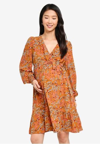 Mama.licious orange Maternity Jadine Tess Long Sleeve Mini Dress 49BB3AA4ABBA5AGS_1