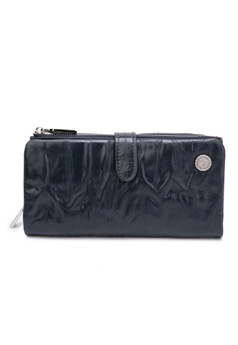 DUSTY blue Wrinkle Duel Zipper Wallet E790CAC7823BFFGS_1