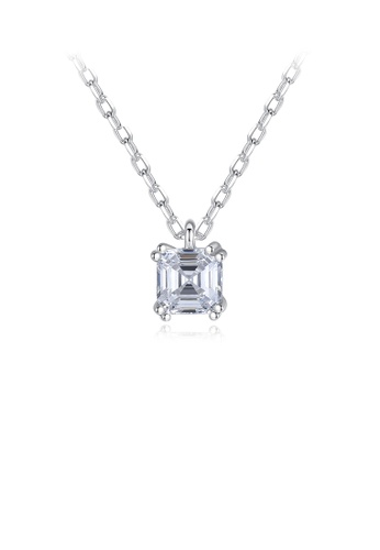 Glamorousky white 925 Sterling Silver Simple and Fashion Geometric Square Pendant with Cubic Zirconia and Necklace 91EF1AC25E3DB6GS_1