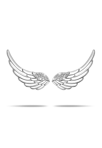 925 Signature silver 925 STERLING SILVER Solid 925 Sterling Silver Angel Wing Climber Earrings DA099AC748696EGS_1