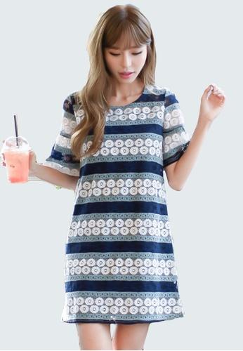 Shopsfashion white and blue Geometric Shift Dress in Lace  SH656AA0GR39SG_1