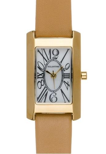 EGLANTINE gold EGLANTINE® Lily Mini Gold Plated Steel Quartz Ladies Watch on brown leather strap 147F2ACB4A4DD1GS_1