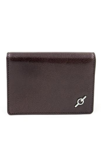 ENZODESIGN brown Fine Grained Water Buffalo Leather Card Holder EN357AC0F58ESG_1
