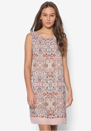 印花無袖連身zalora鞋裙, 服飾, 洋裝