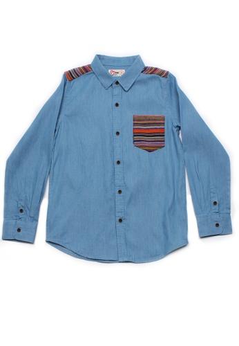Mini Moley blue Aztec Embroidered Yoke Boy's Long Sleeve Shirt 1BA97KA4FCC524GS_1