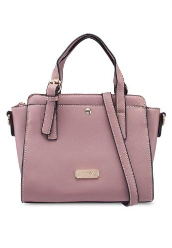 Unisa pink Saffiano Convertible Satchel 8F000AC59EA878GS_1