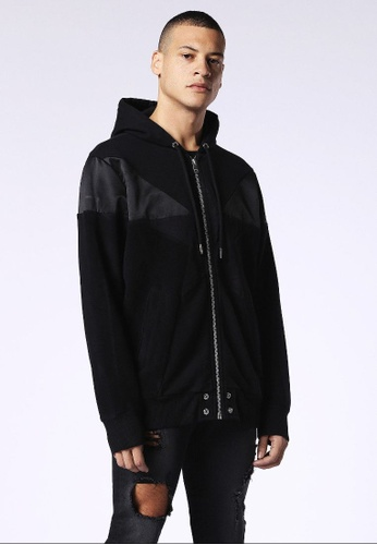 Diesel black S-Cannery Zip-Up Hoodie E20E6AA781DCE0GS_1
