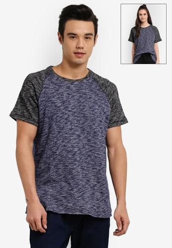 UniqTee grey and navy Raglan Slub Short Sleeve Tee UN097AA0RFULMY_1