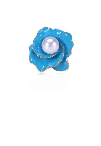 Glamorousky white Simple Fashion Blue Flower Imitation Pearl Brooch CA703AC9341429GS_1