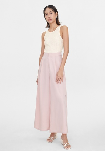 Pomelo pink Pleated Wide Leg Pants - Pink B7DBDAA08FC00AGS_1