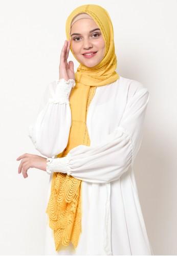 KASHKHA yellow Pashmina Scarf Cotton Lace on Taraf by Kashkha / A18SHCASFCKGR3000-Mustard B6A7FAA0A5D465GS_1