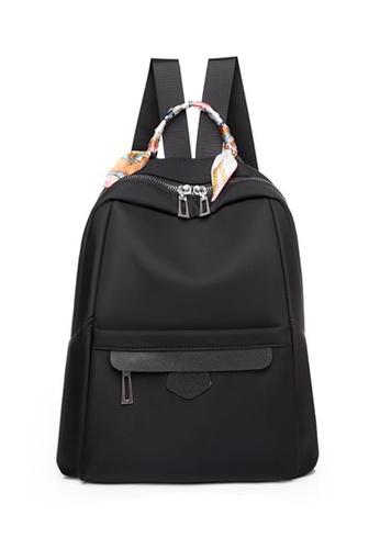 Lara black Women's Silk Scarf-handle Oxford Cloth Zipper Backpack - Black 4456BAC70E6765GS_1