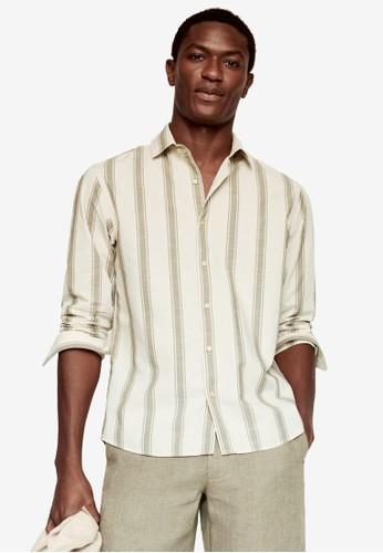MANGO Man beige Regular Fit Striped Cotton Shirt C719CAA2C6B66EGS_1
