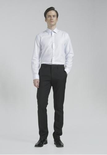 The Executive white Dobby Long Sleeve Shirt BC0EBAADCF2DF7GS_1