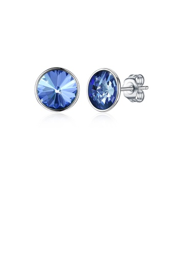 Glamorousky blue 925 Sterling Silver Simple Fashion Blue Austrian Element Crystal Round Stud Earrings BABBCAC9DF9A54GS_1