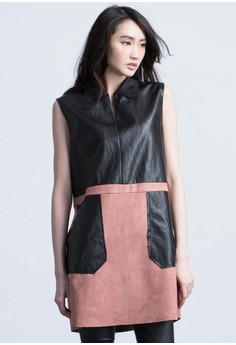 Faux Leather Blocked Dress