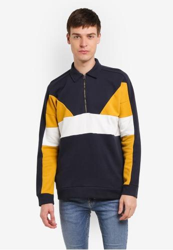 Topman yellow Mustard Rugby Sweatshirt TO413AA0SHQFMY_1