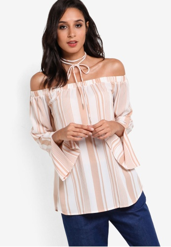 ZALORA beige Collection Off Shoulder Top 16A37AA0DC1143GS_1
