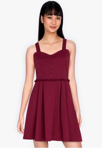 ZALORA BASICS red Sweetheart Neckline Mini Dress 907EBAA739AD54GS_1