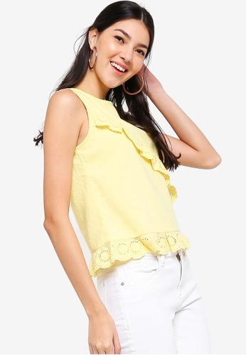 ZALORA yellow Ruffled Sleeveless Blouse 6ED6EAA4717E85GS_1