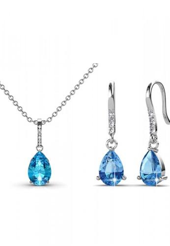 Her Jewellery blue Swarovski® Crystals -Dew Drop Set (Blue) (18K White Gold Plated) Her Jewellery HE581AC0RVRMMY_1