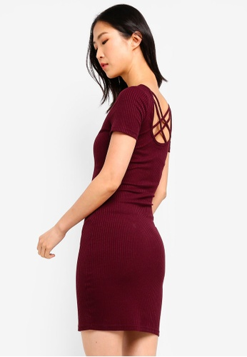 ZALORA BASICS red Basic Ribbed Dress With Cross Back 051DBAA0424FFBGS_1