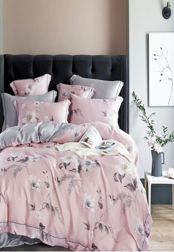 MOCOF pink and multi and lilac purple Tencel Printed SCARLET Duvet Cover Set 1200TC 34DAEHL874C02AGS_1
