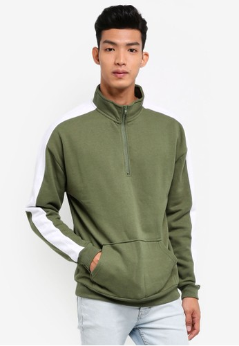 Factorie white and green Sports Quarter Zip Jumper 06B02AA7783076GS_1