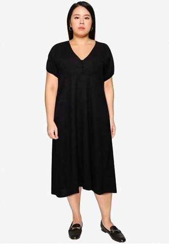 Cotton On black Curve Michelle Midi Button Detail Dress 1DA25AAD32736BGS_1