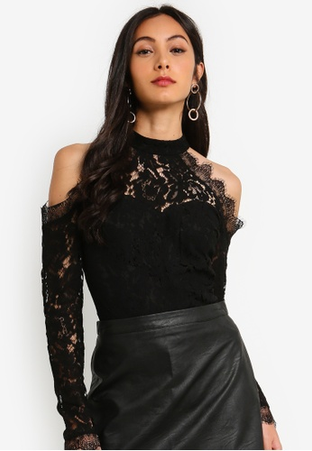 9ef84f5fbe MISSGUIDED black Corded Lace Cold Shoulder Bodysuit 351BEAAA495BABGS_1.  CLICK TO ZOOM