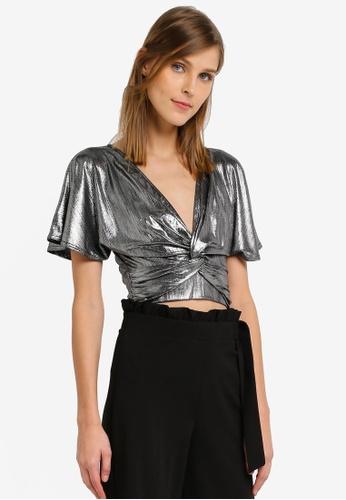 Miss Selfridge silver Silver Angel Sleeve Wrap Top MI665AA0SLEPMY_1