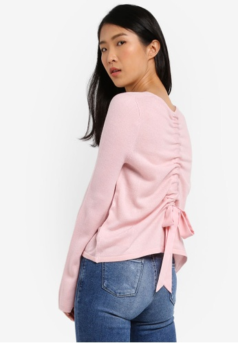 Miss Selfridge pink Pink Ruuched Bow Back Sweat Jumper MI665AA0SD86MY_1