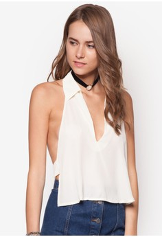 Cut Out Back Collar Blouse Ivory