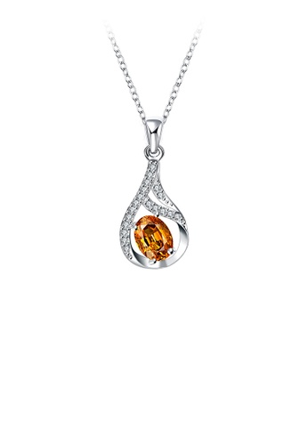 Glamorousky gold Fashion and Elegant Water Drop Pendant with Champagne Cubic Zircon and Necklace 6B2B8AC2EEBFF8GS_1