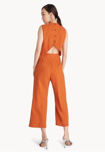18fb7cf3723 Pomelo orange Buttoned Cut Out Back Jumpsuit - Orange BEAB6AAF782195GS 1