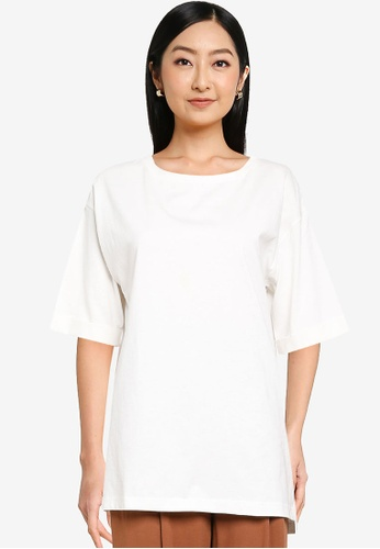 GLOBAL WORK white Cotton Square Tunic A1199AA2ED7A10GS_1