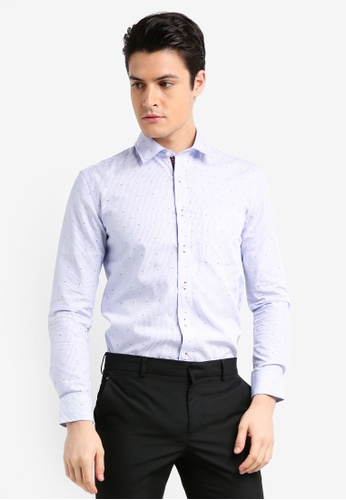 UniqTee blue Textured Weave Shirt With Contrast Tape 141F1AADF8E3C7GS_1
