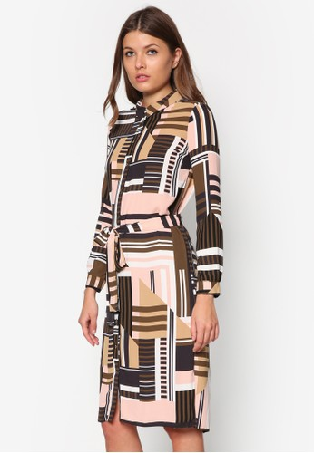 Selina 及zalora 衣服評價膝長袖襯衫連身裙, 服飾, 服飾