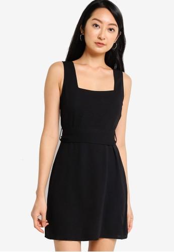 ZALORA BASICS black Square Neck Mini Dress A11A3AA6E8BA40GS_1