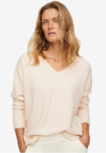 Mango beige V-Neck Knit Sweater 7EBE0AA5AD4993GS_1