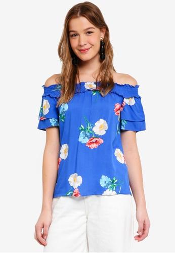 Dorothy Perkins blue Cobalt Floral Bardot Top 5D43CAA77FE121GS_1