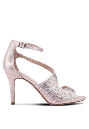 Dorothy Perkins 粉紅色 金屬感閃亮繞帶高跟鞋 F8149SH5012D41GS_1
