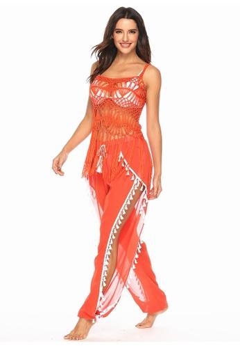 LYCKA orange LTH4018-European Style Beach Casual Pants-Orange AE330US1B3A937GS_1