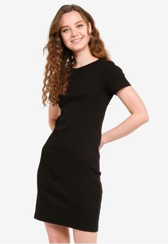 Brave Soul black Tshirt Rib Mini Dress 9CE96AAB46DF3CGS_1